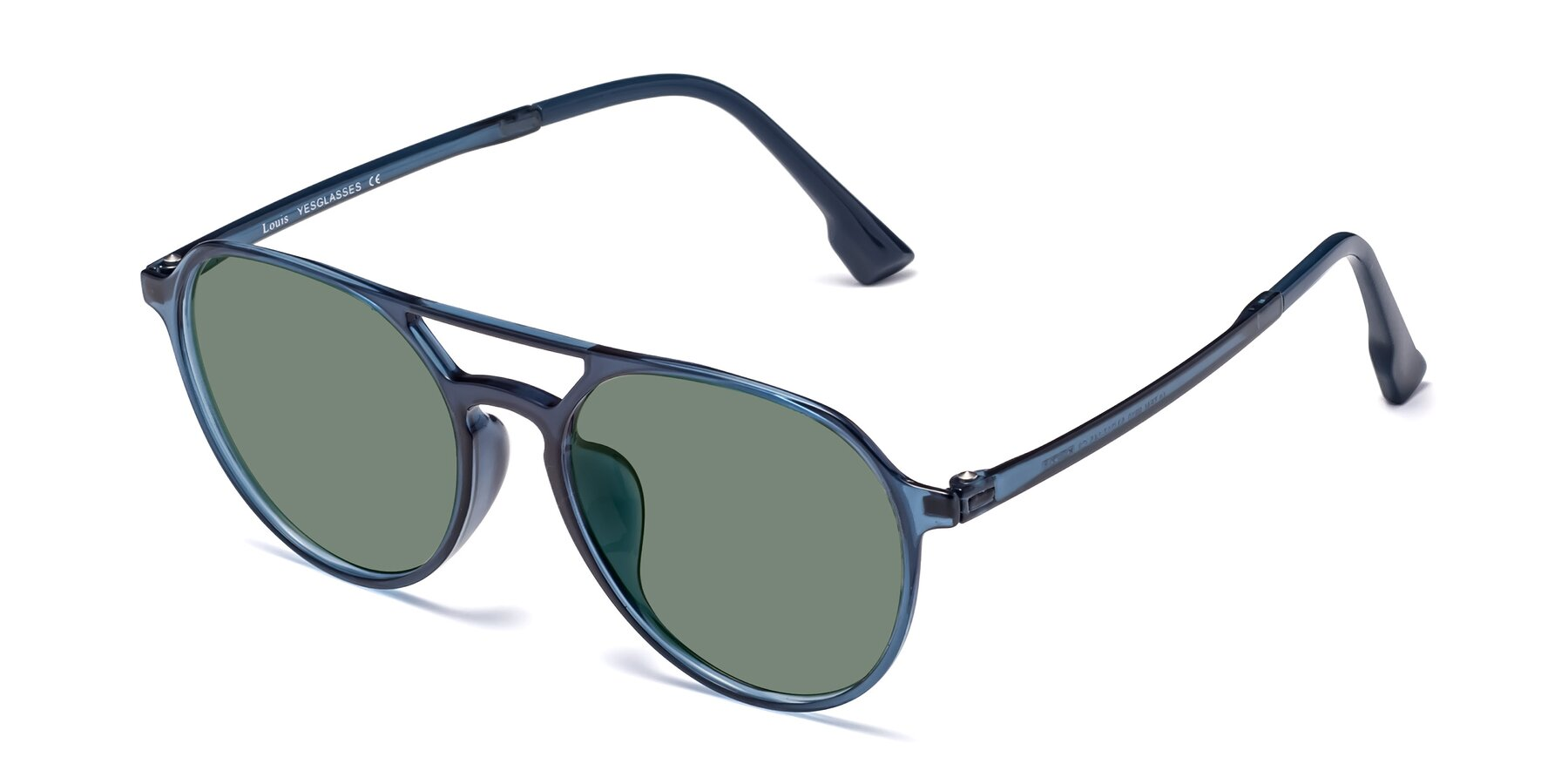 Angle of Louis in Blue with Medium Green Tinted Lenses