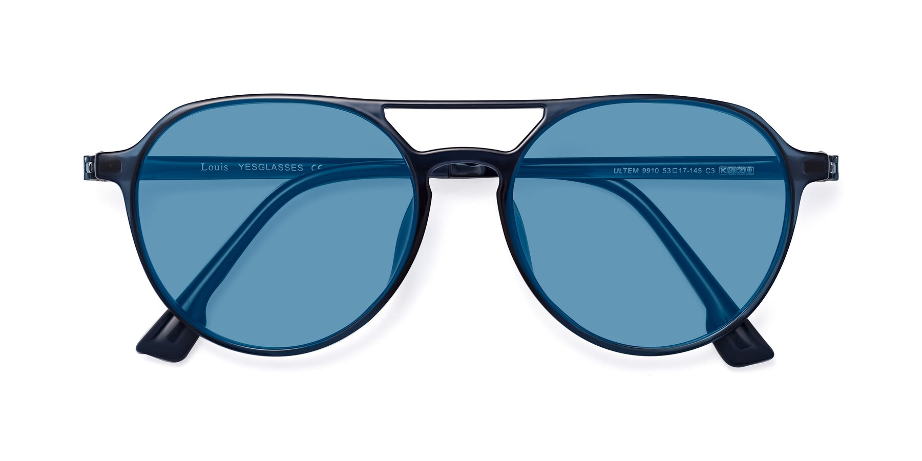Folded Front of Louis in Blue with Medium Blue Tinted Lenses