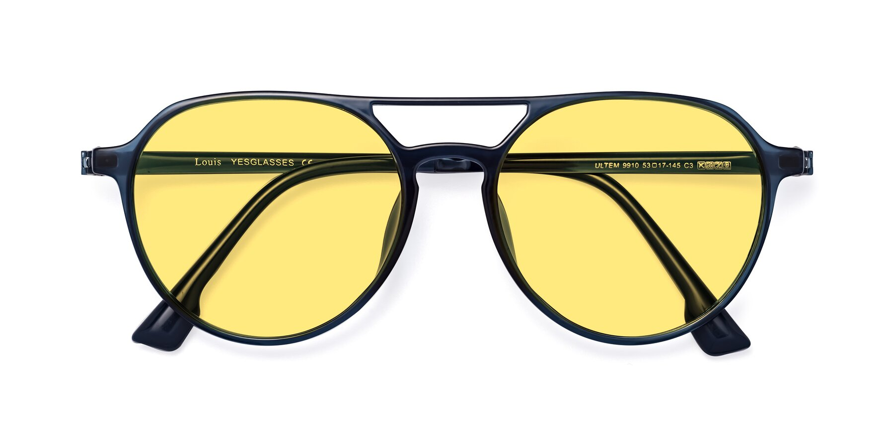 Folded Front of Louis in Blue with Medium Yellow Tinted Lenses
