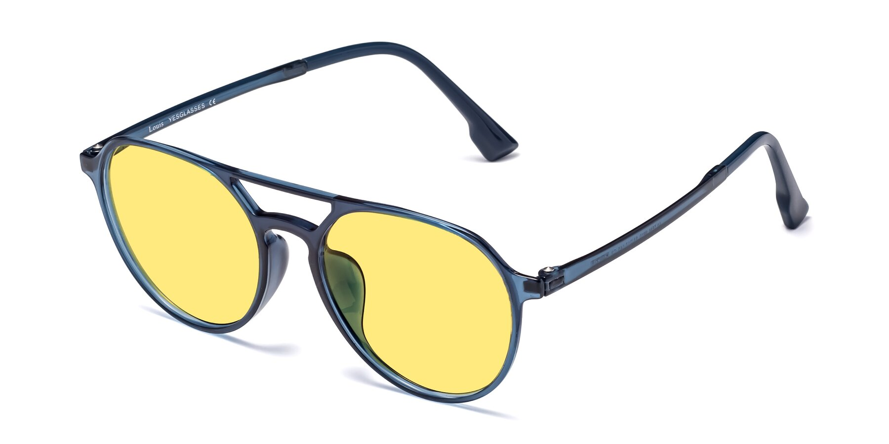 Angle of Louis in Blue with Medium Yellow Tinted Lenses