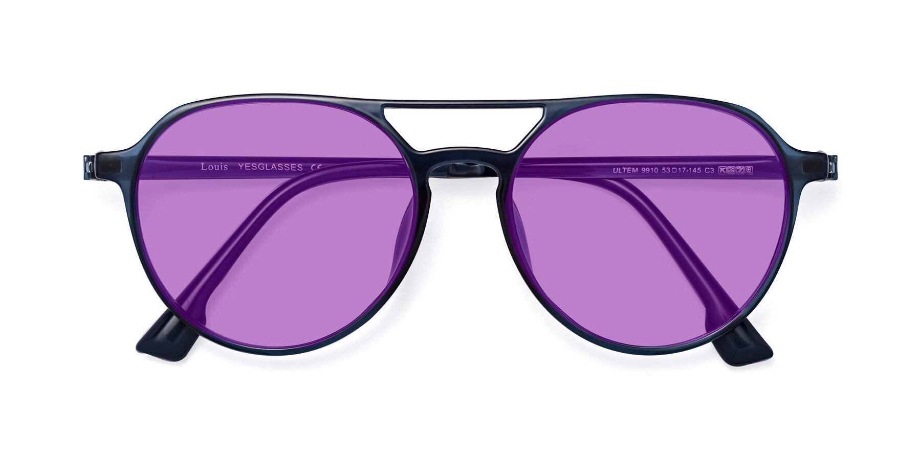 Folded Front of Louis in Blue with Medium Purple Tinted Lenses