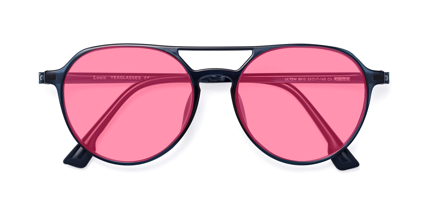 Folded Front of Louis in Blue with Pink Tinted Lenses