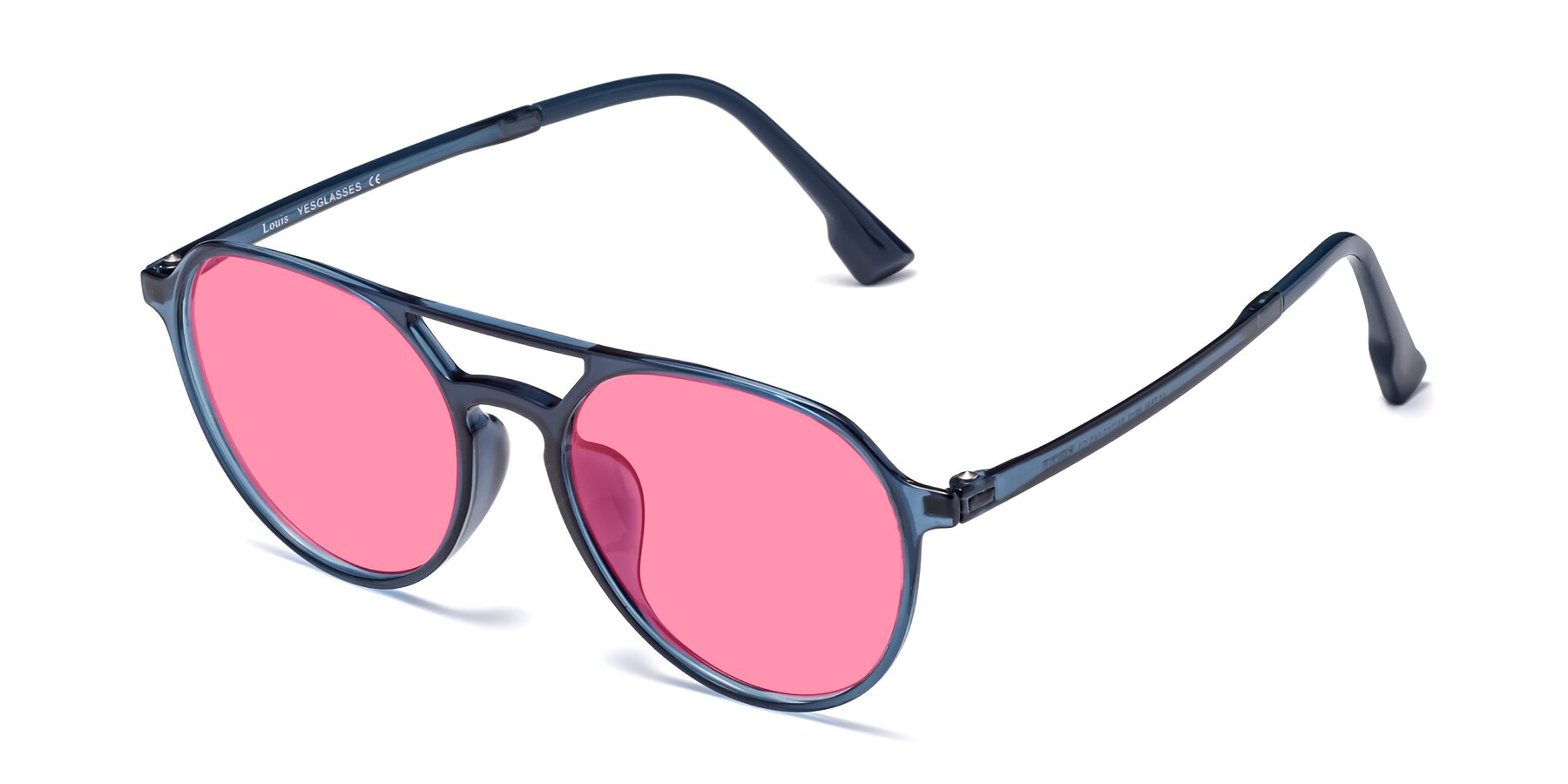 Angle of Louis in Blue with Pink Tinted Lenses