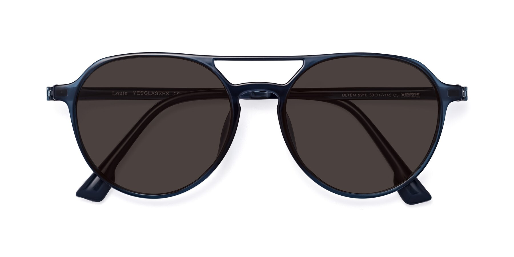 Folded Front of Louis in Blue with Gray Tinted Lenses