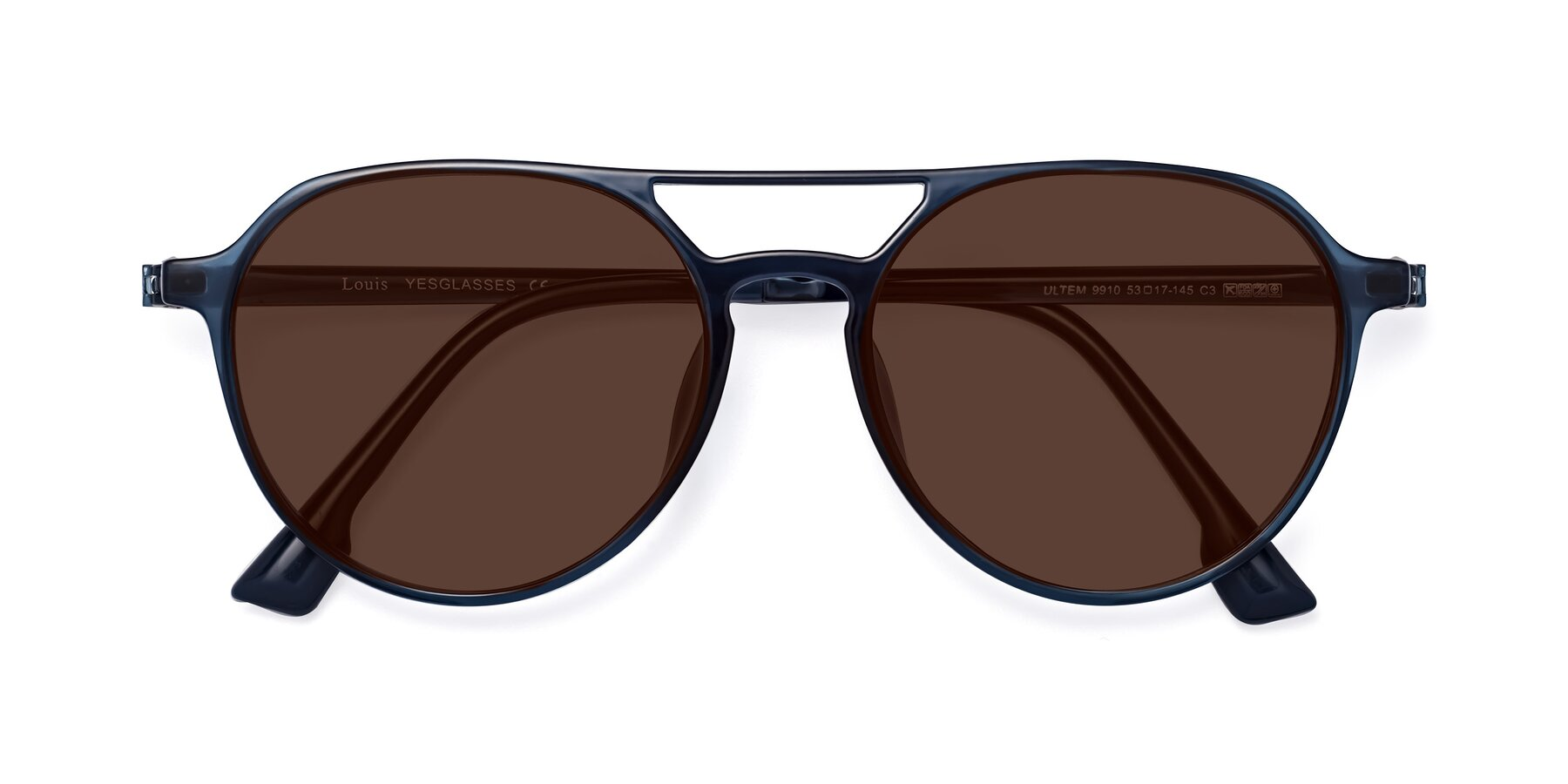 Folded Front of Louis in Blue with Brown Tinted Lenses