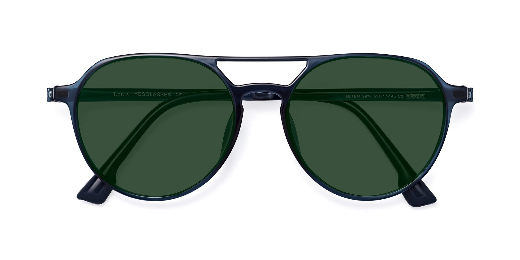 Folded Front of Louis in Blue with Green Tinted Lenses