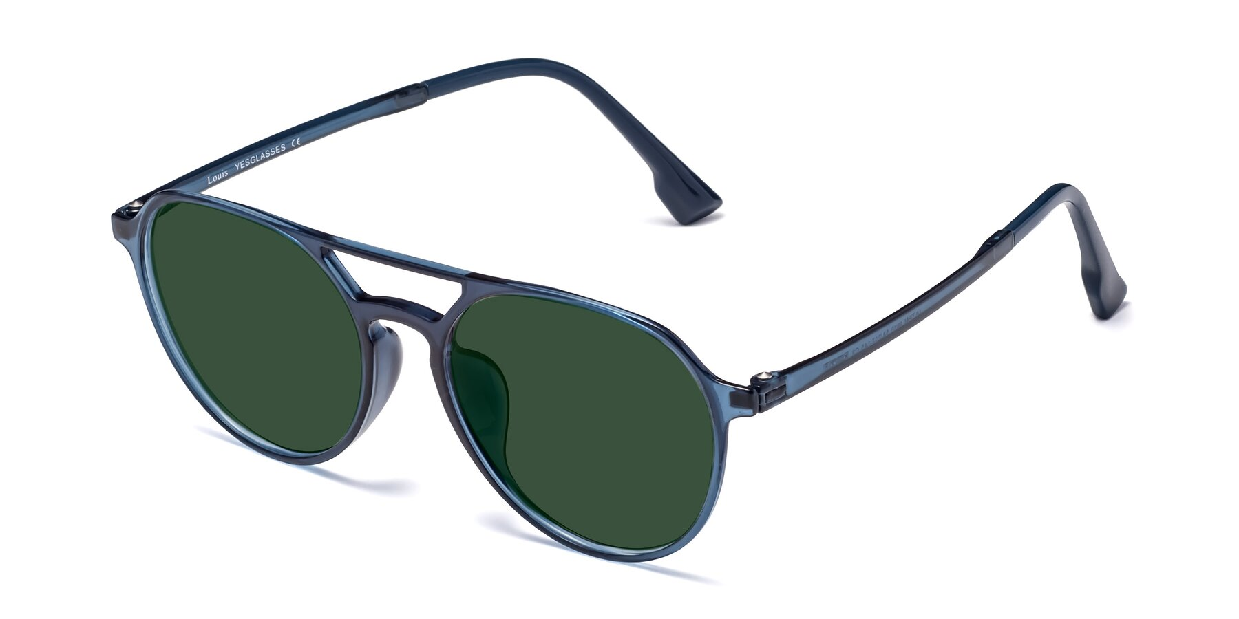 Angle of Louis in Blue with Green Tinted Lenses