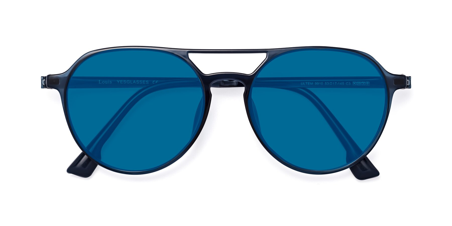 Folded Front of Louis in Blue with Blue Tinted Lenses