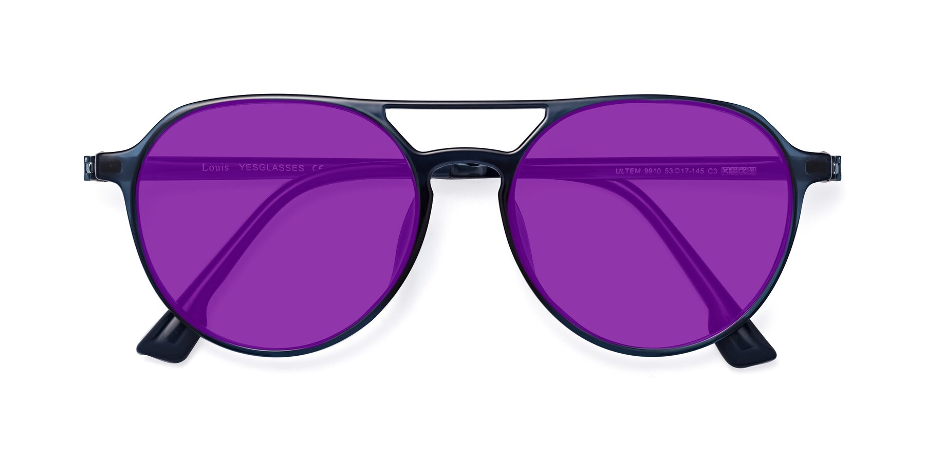 Folded Front of Louis in Blue with Purple Tinted Lenses