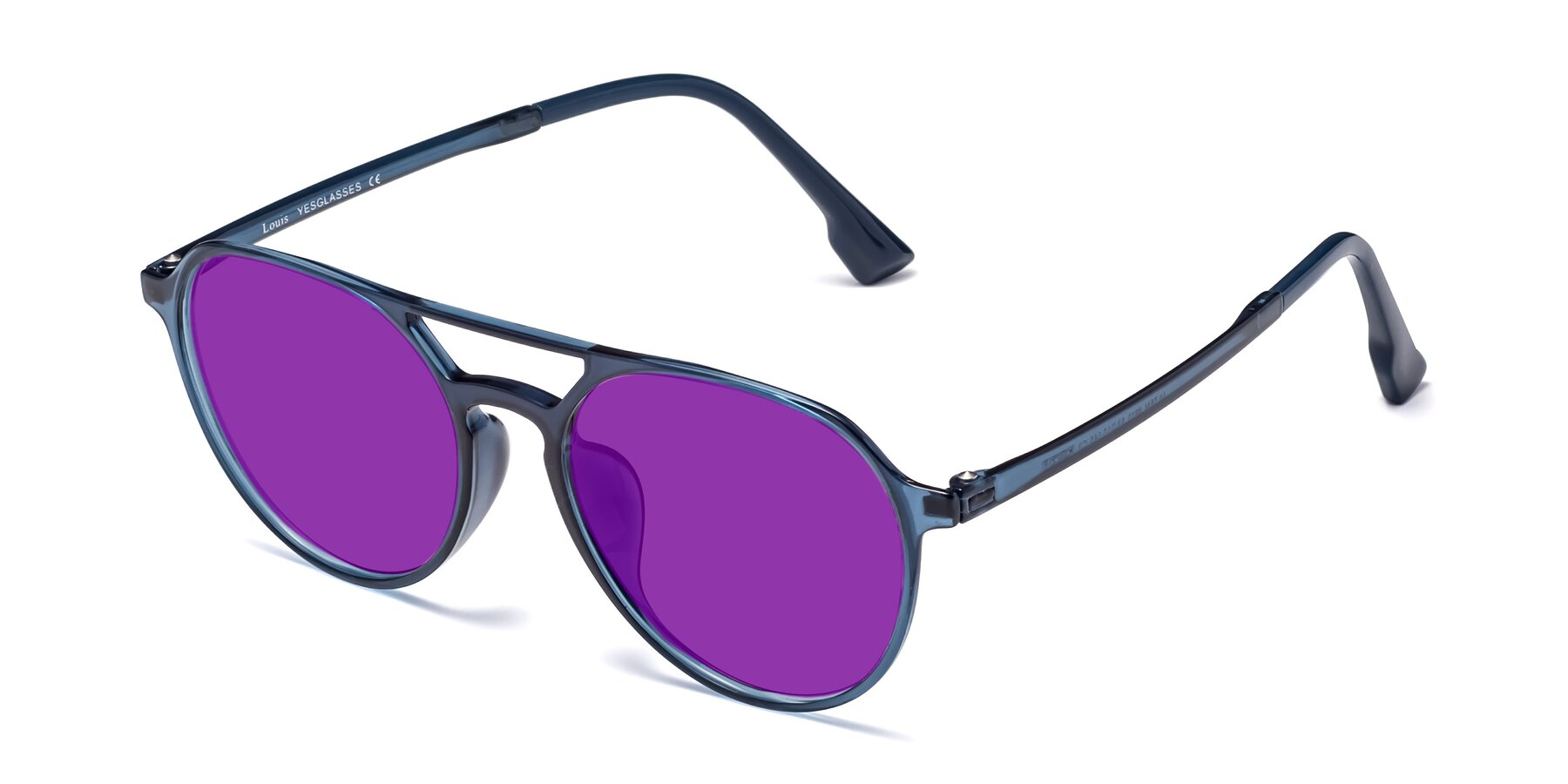 Angle of Louis in Blue with Purple Tinted Lenses