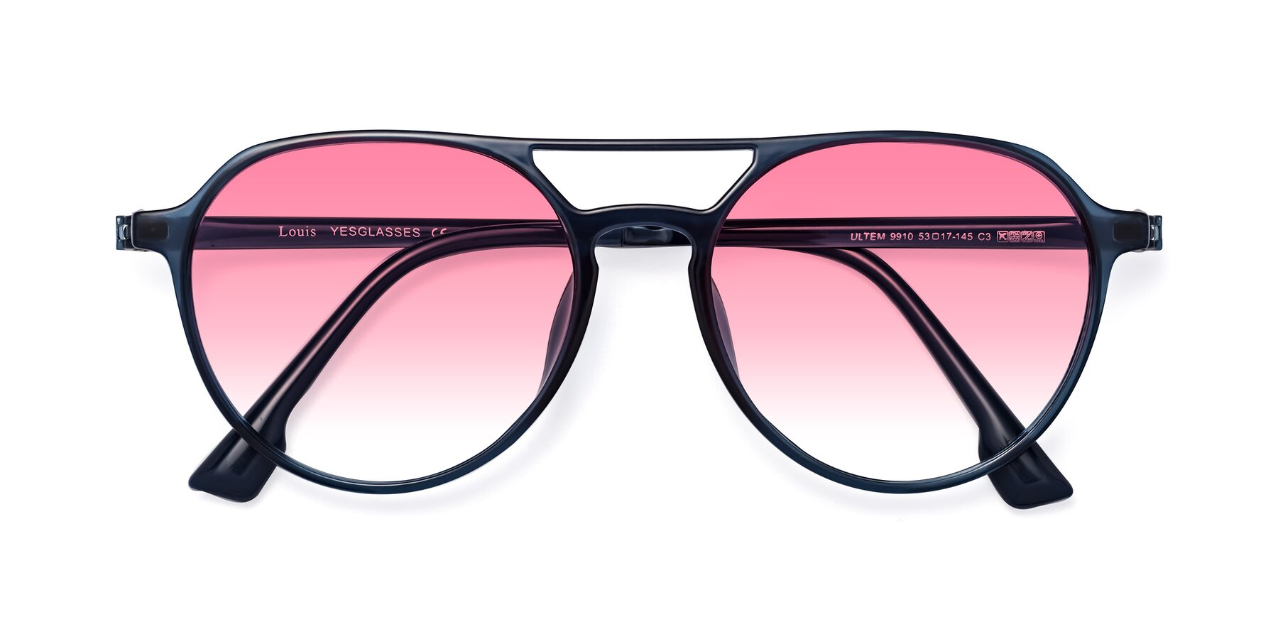 Folded Front of Louis in Blue with Pink Gradient Lenses