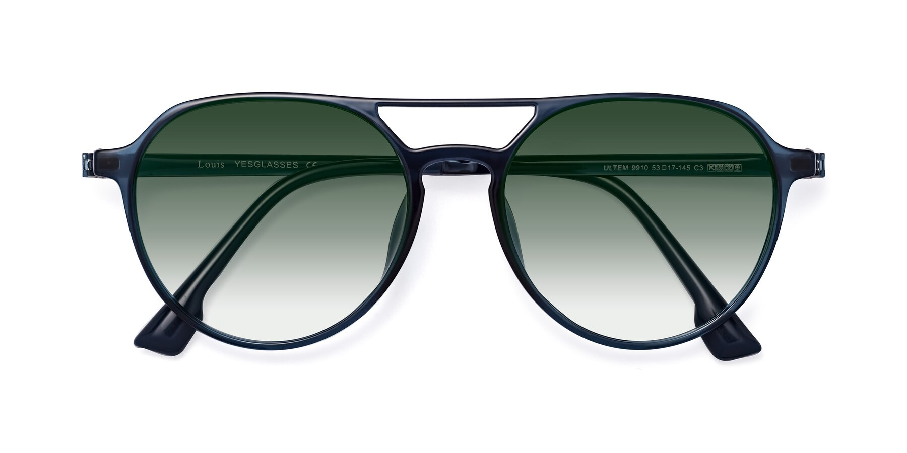 Folded Front of Louis in Blue with Green Gradient Lenses