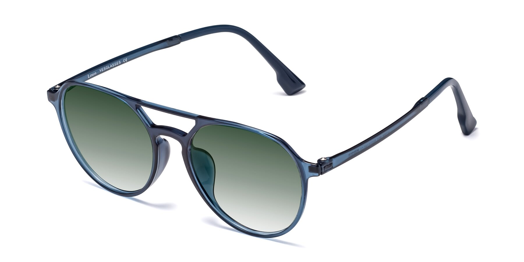 Angle of Louis in Blue with Green Gradient Lenses