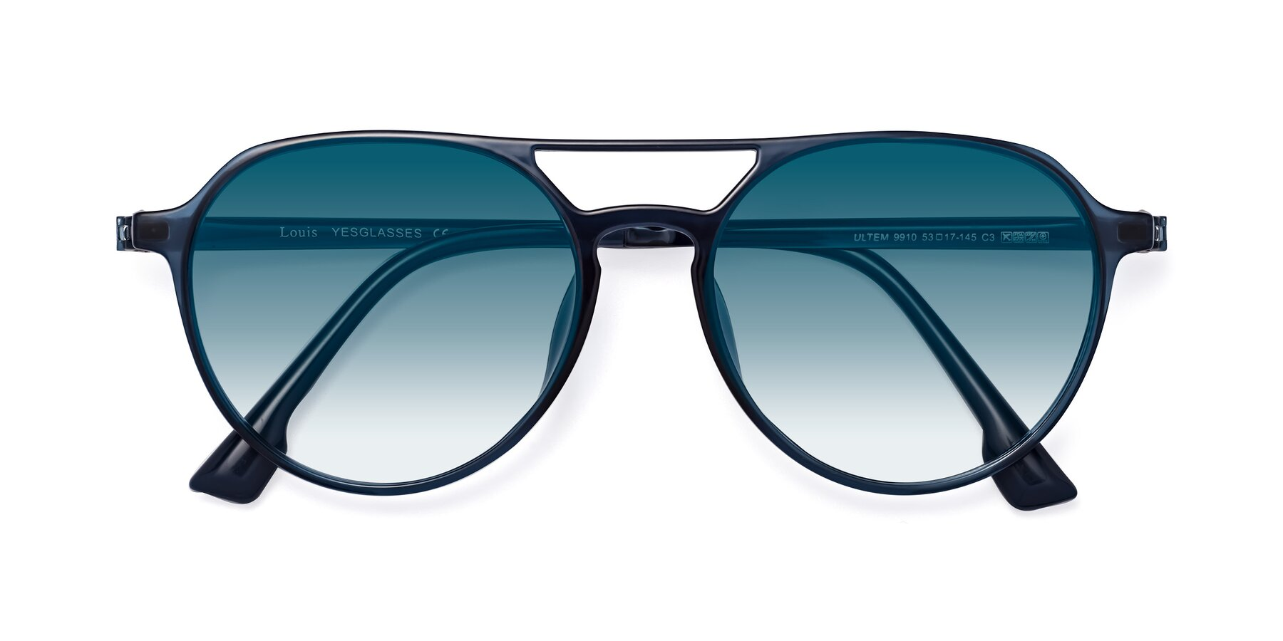 Folded Front of Louis in Blue with Blue Gradient Lenses