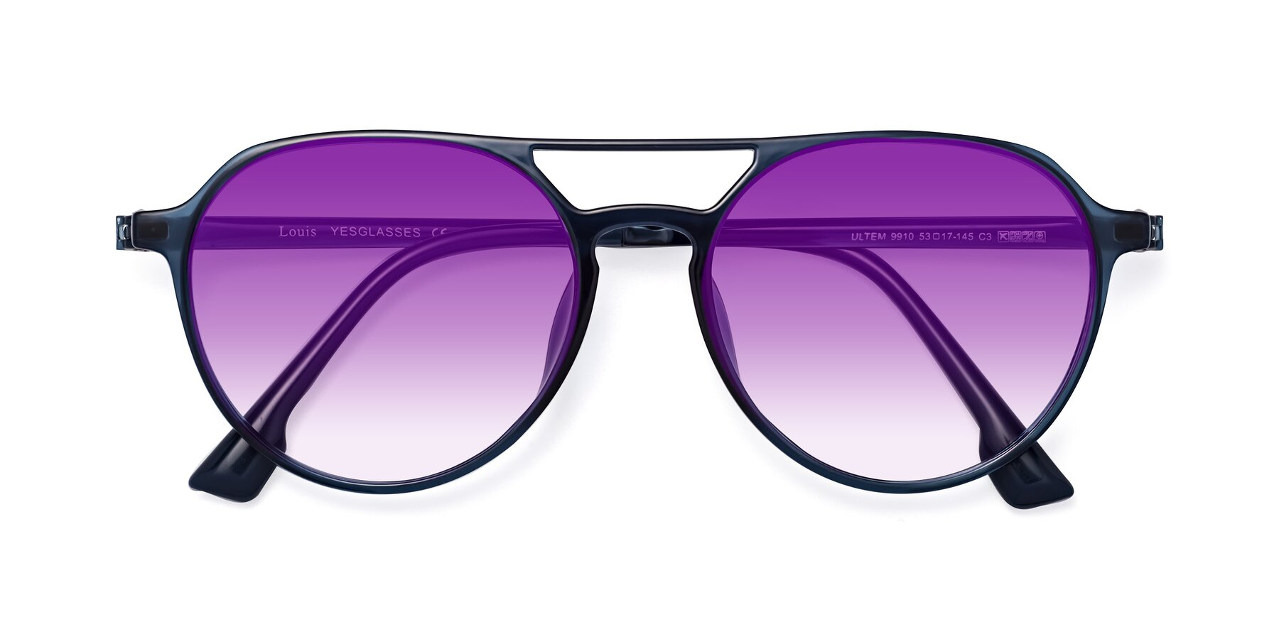 Folded Front of Louis in Blue with Purple Gradient Lenses