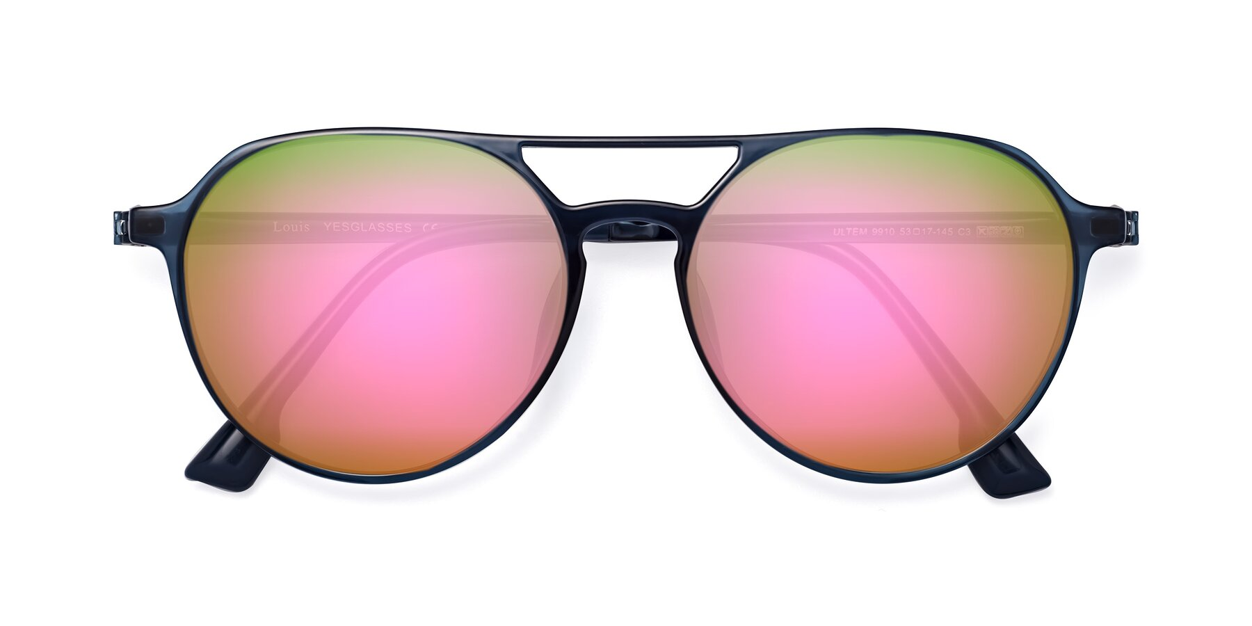 Folded Front of Louis in Blue with Pink Mirrored Lenses