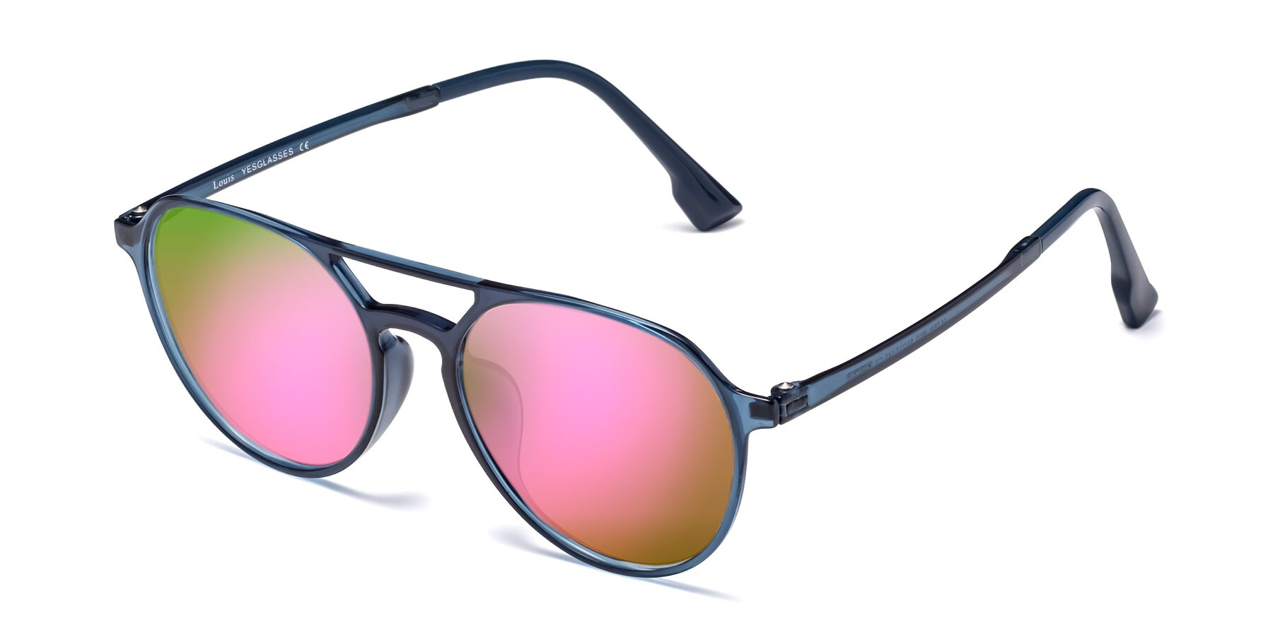Angle of Louis in Blue with Pink Mirrored Lenses