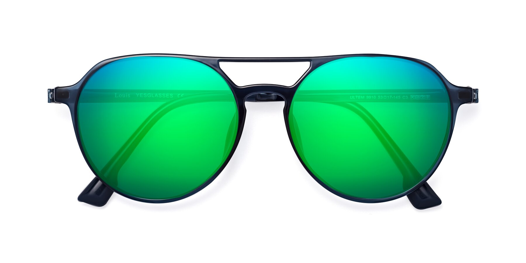 Folded Front of Louis in Blue with Green Mirrored Lenses