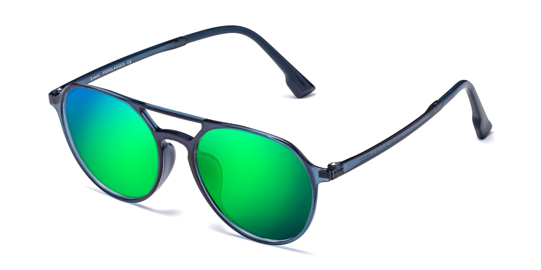 Angle of Louis in Blue with Green Mirrored Lenses