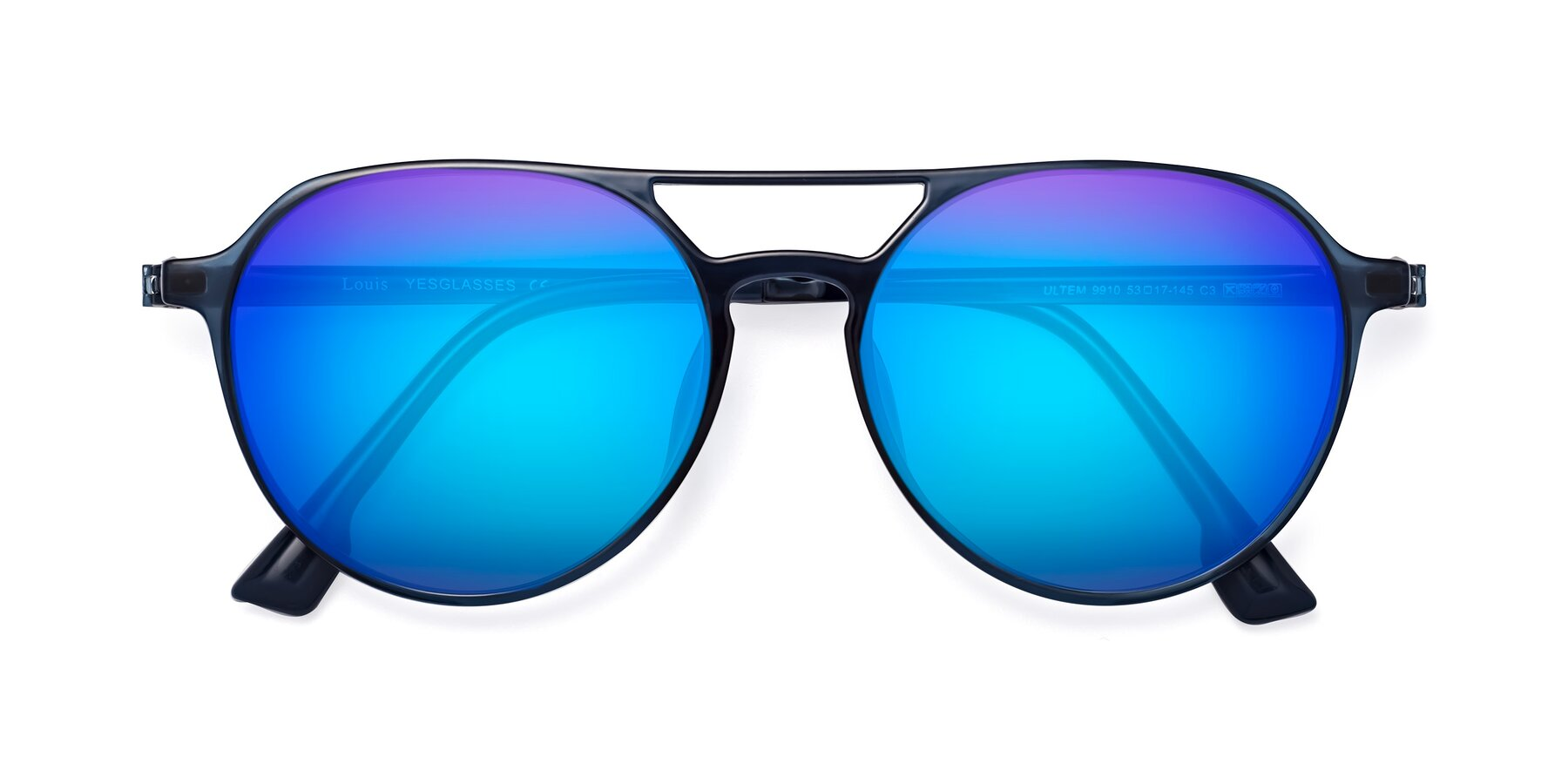 Folded Front of Louis in Blue with Blue Mirrored Lenses