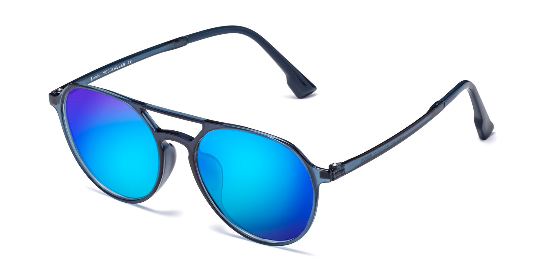 Angle of Louis in Blue with Blue Mirrored Lenses