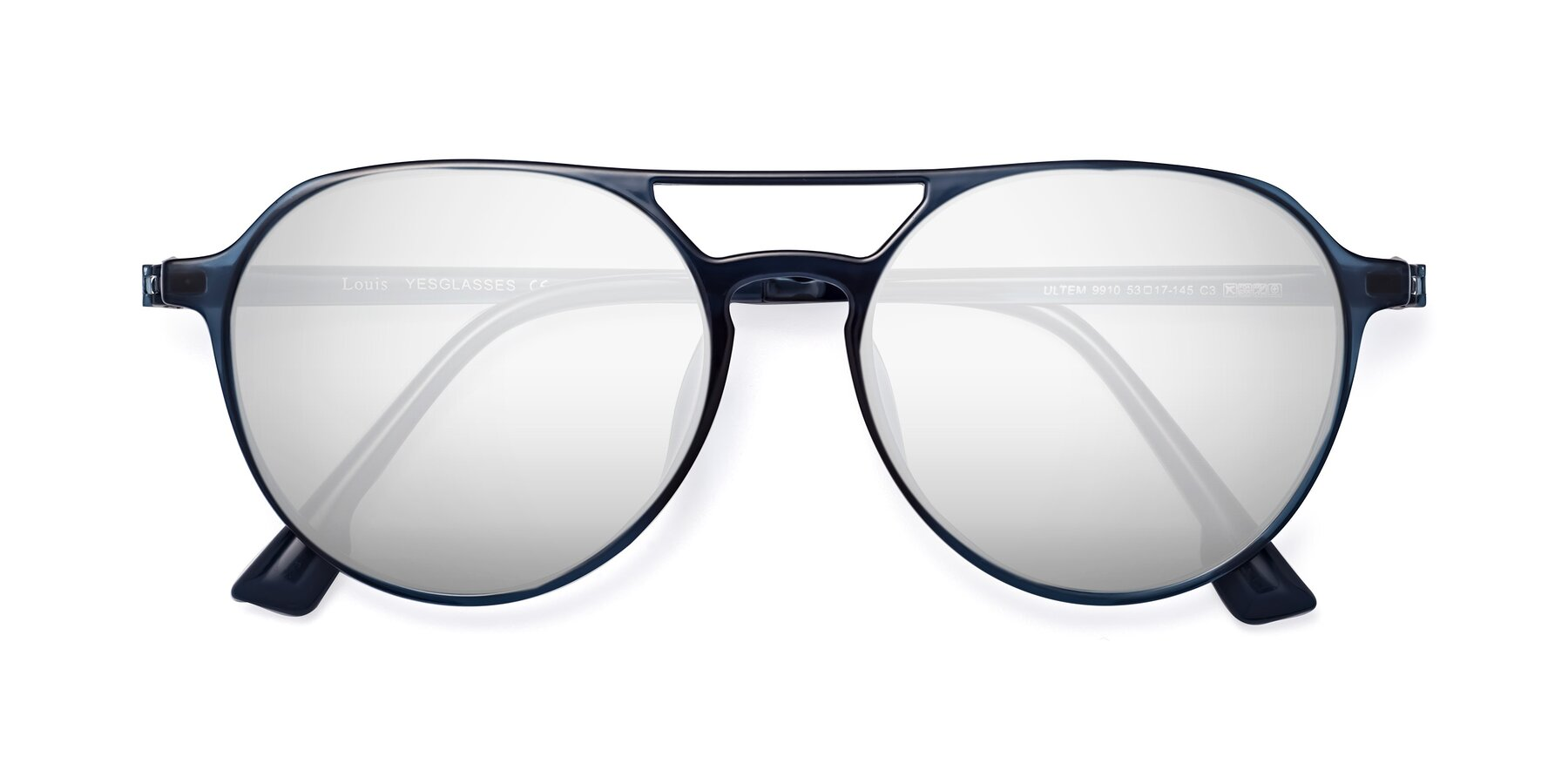 Folded Front of Louis in Blue with Silver Mirrored Lenses