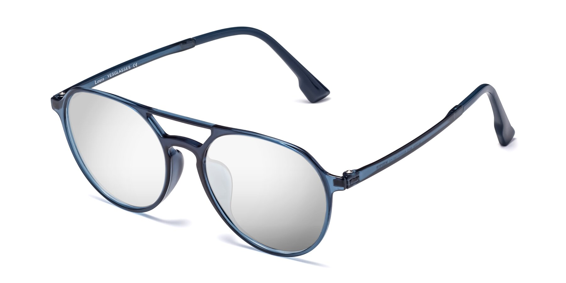 Angle of Louis in Blue with Silver Mirrored Lenses