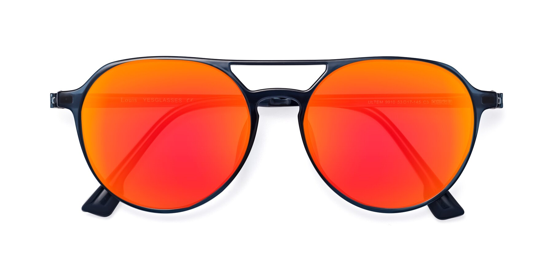 Folded Front of Louis in Blue with Red Gold Mirrored Lenses