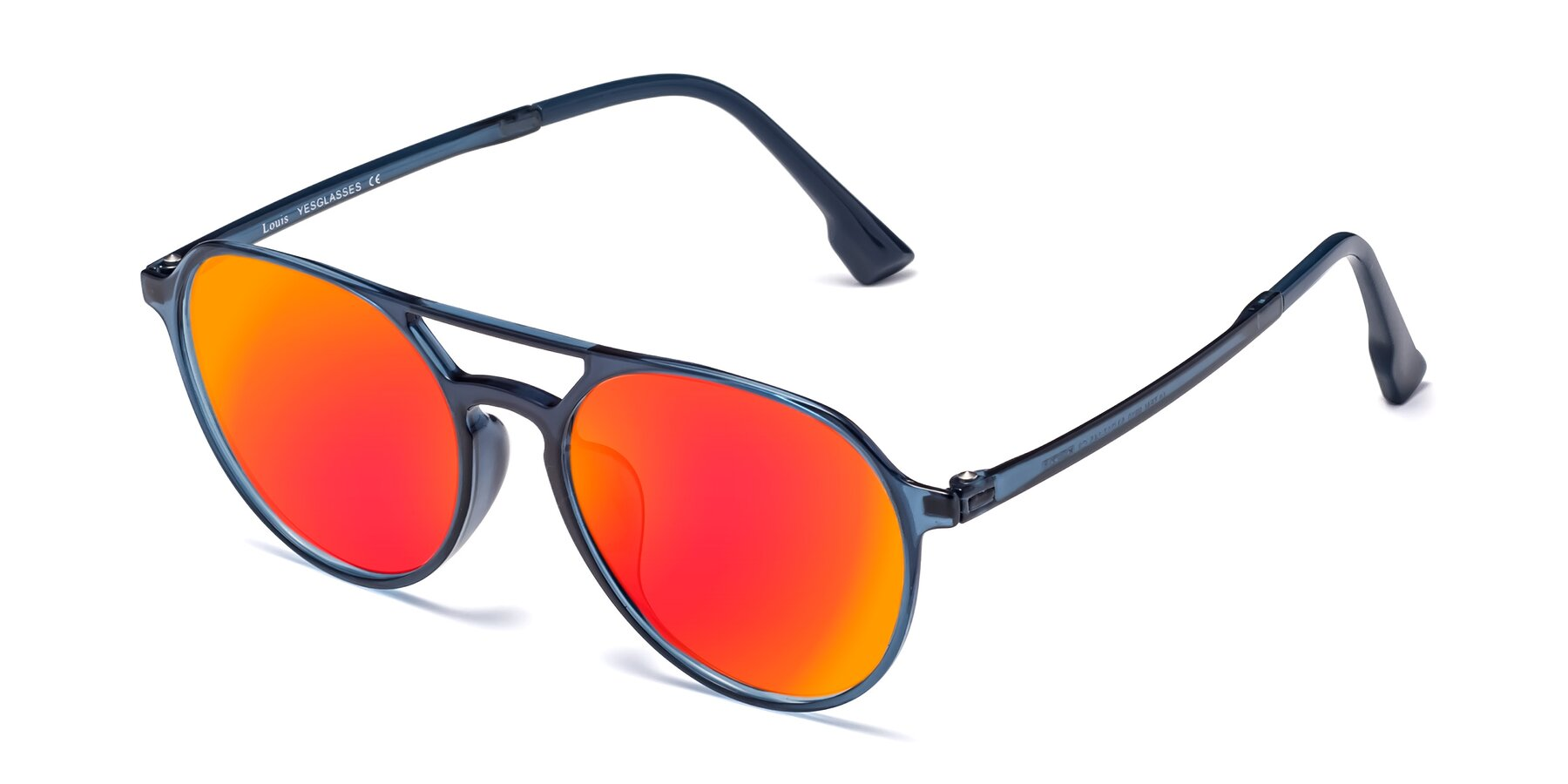 Angle of Louis in Blue with Red Gold Mirrored Lenses