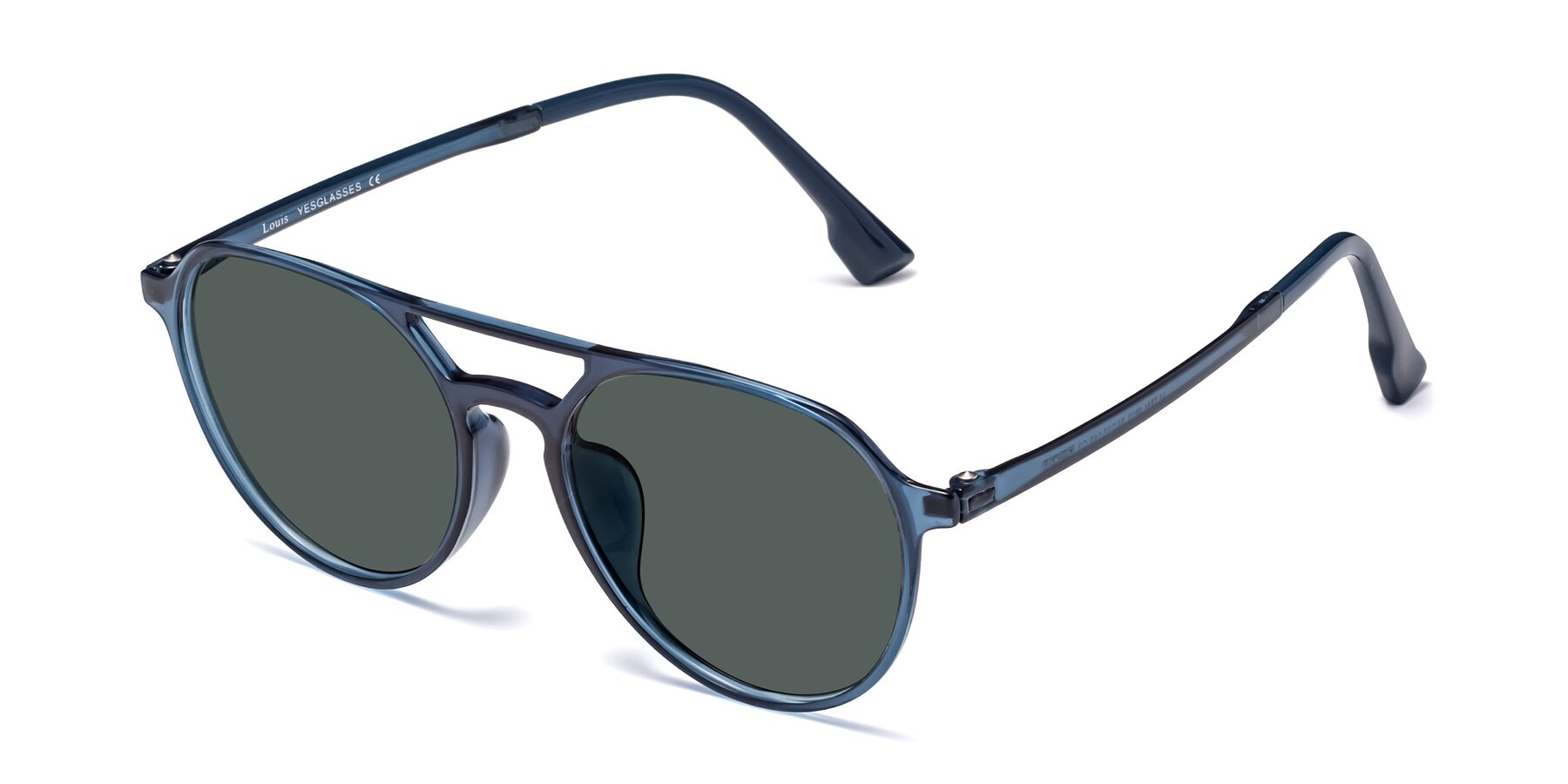 Angle of Louis in Blue with Gray Polarized Lenses