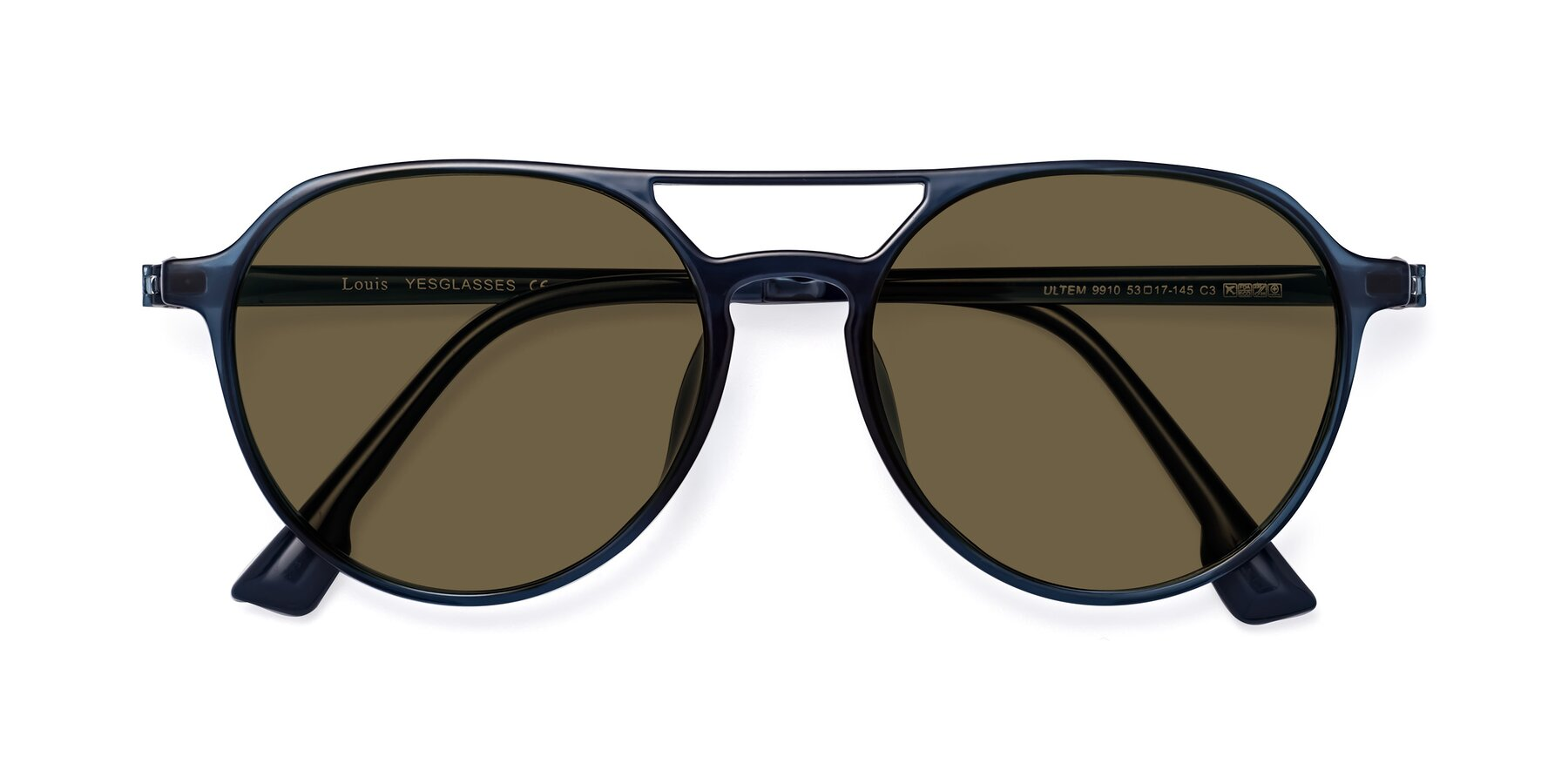 Folded Front of Louis in Blue with Brown Polarized Lenses