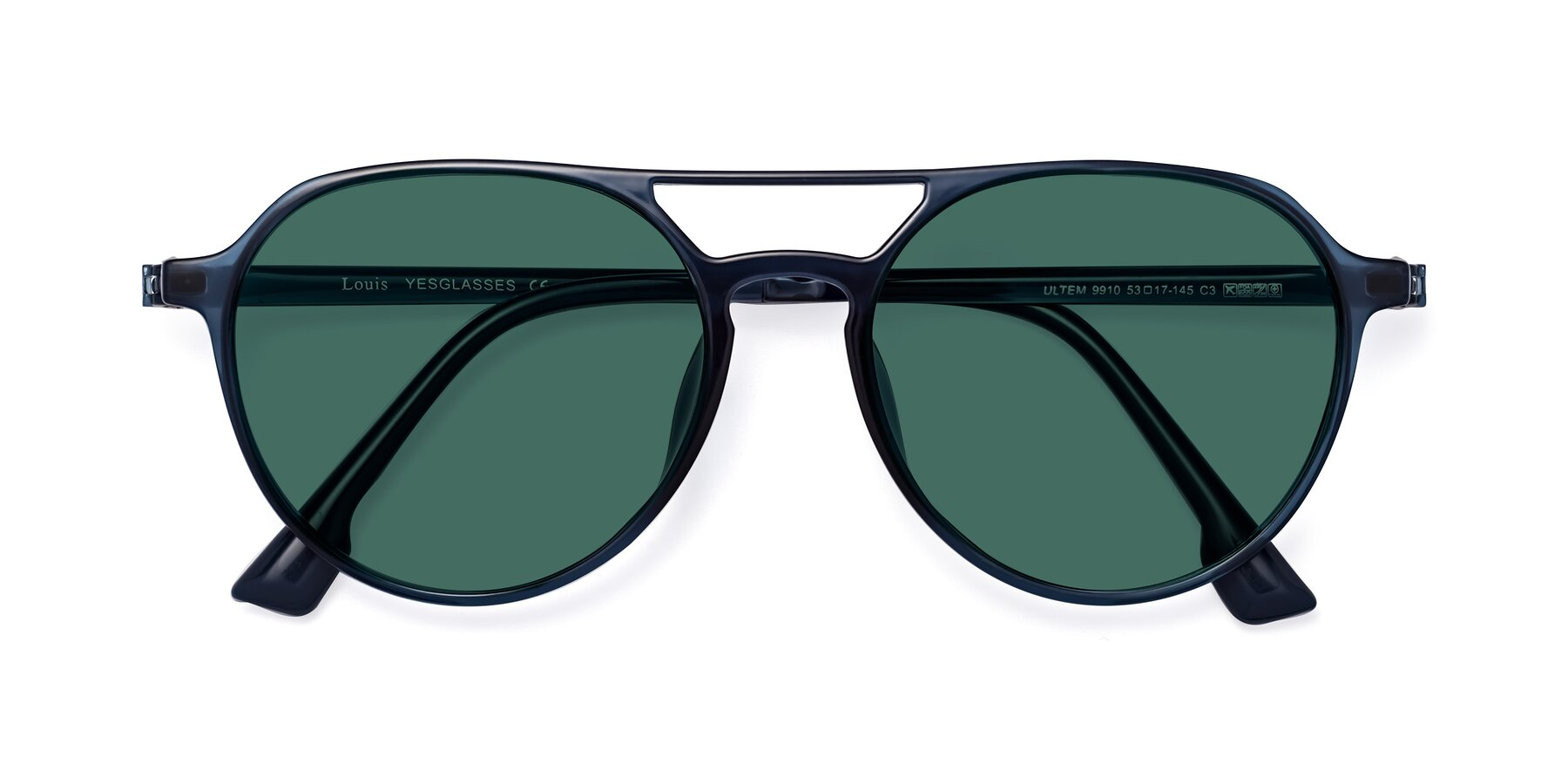 Folded Front of Louis in Blue with Green Polarized Lenses