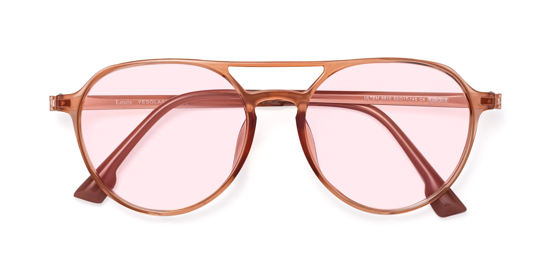 Folded Front of Louis in Coral with Light Pink Tinted Lenses