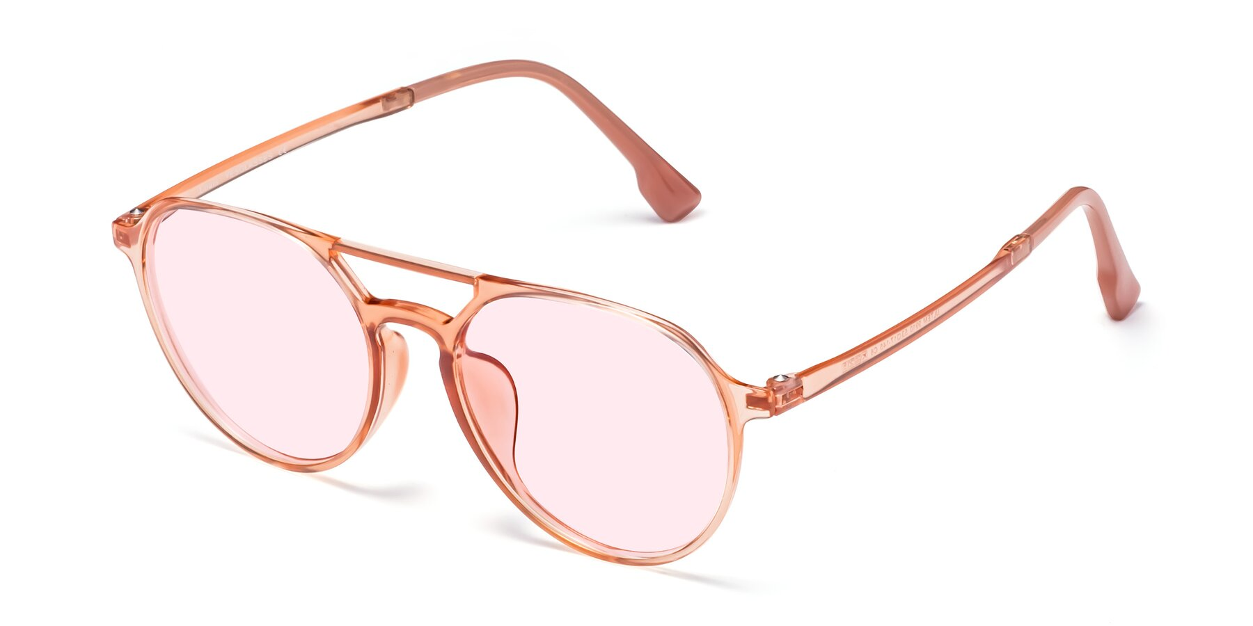 Angle of Louis in Coral with Light Pink Tinted Lenses
