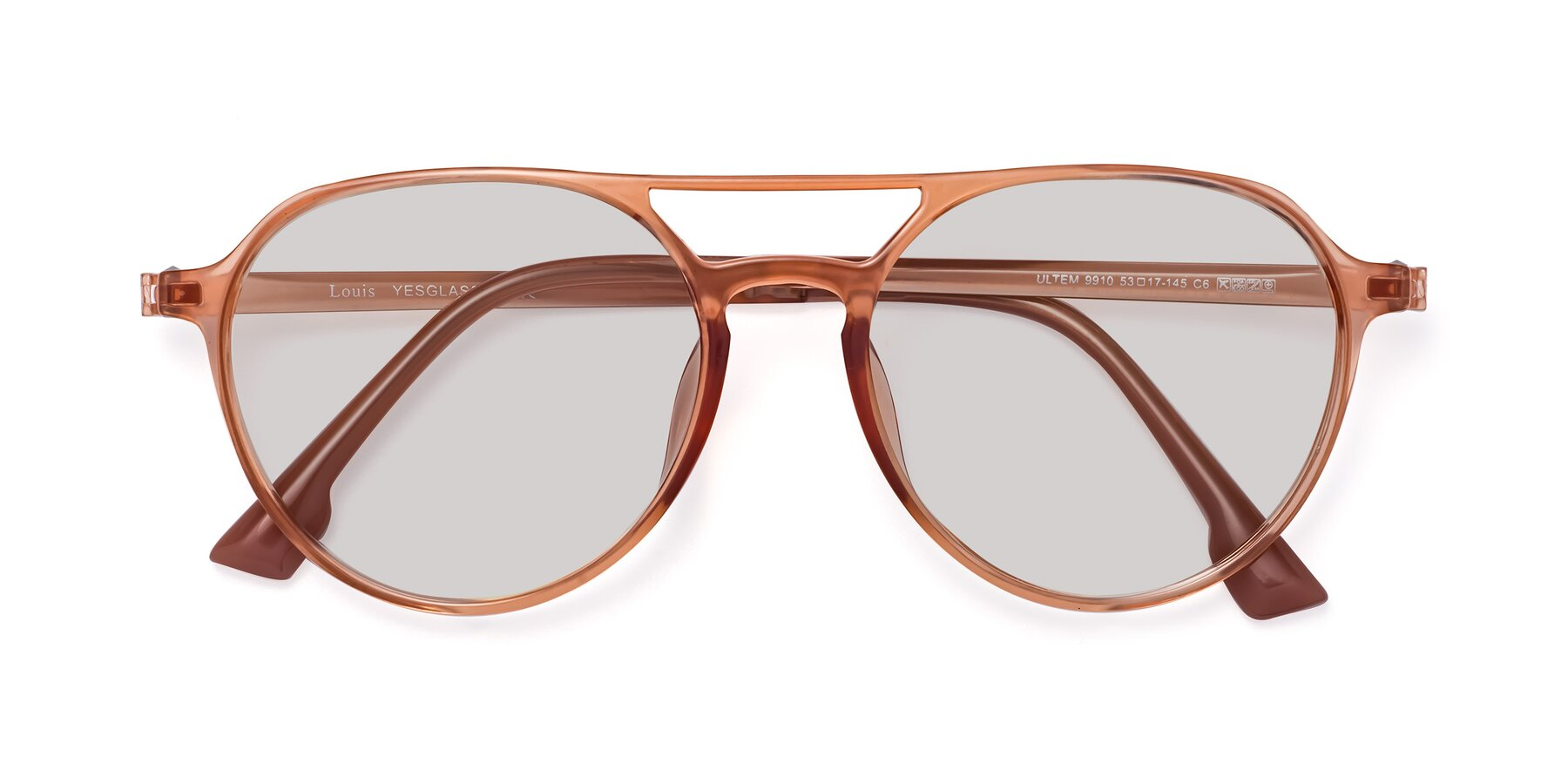 Folded Front of Louis in Coral with Light Gray Tinted Lenses