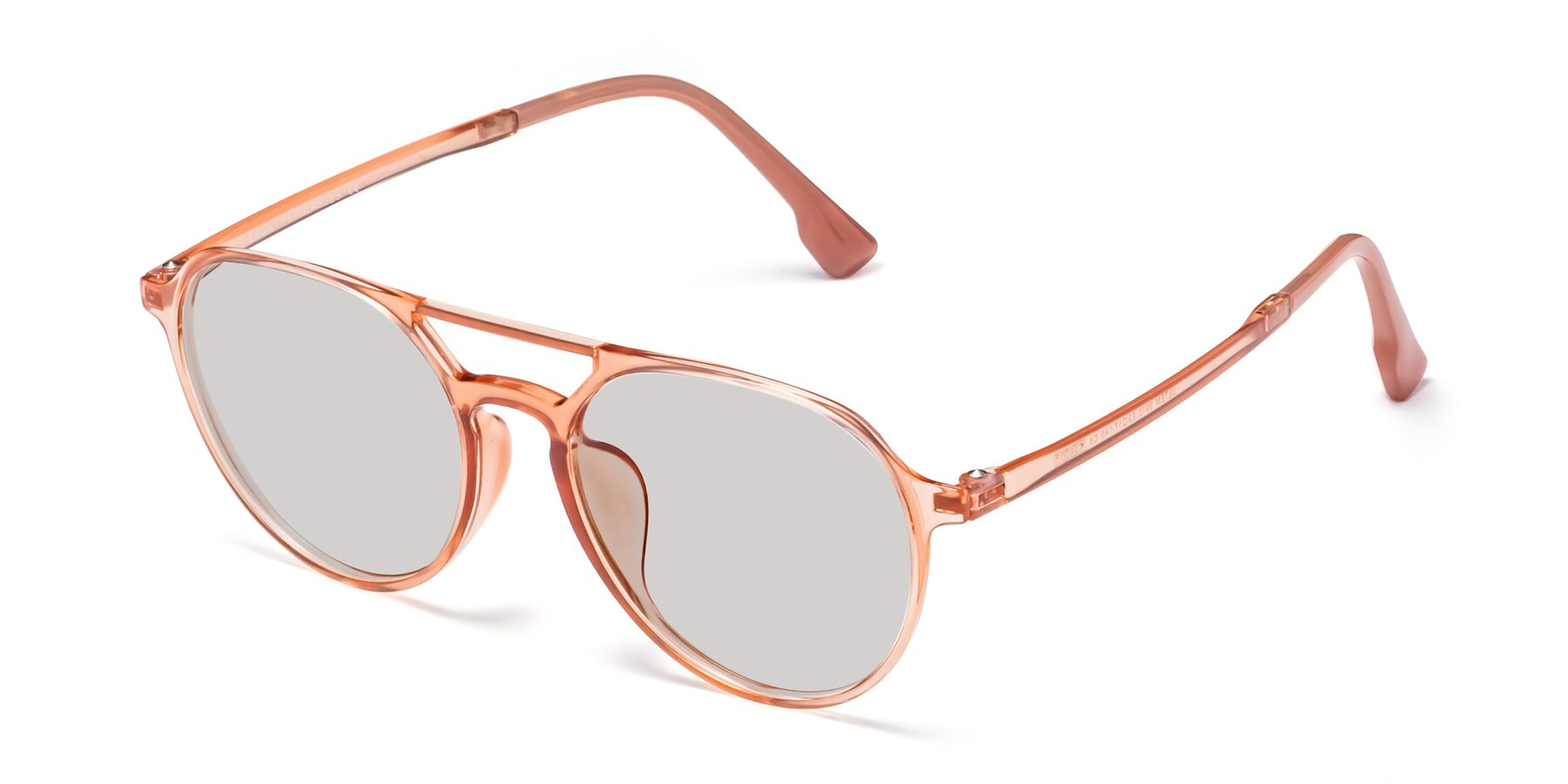 Angle of Louis in Coral with Light Gray Tinted Lenses