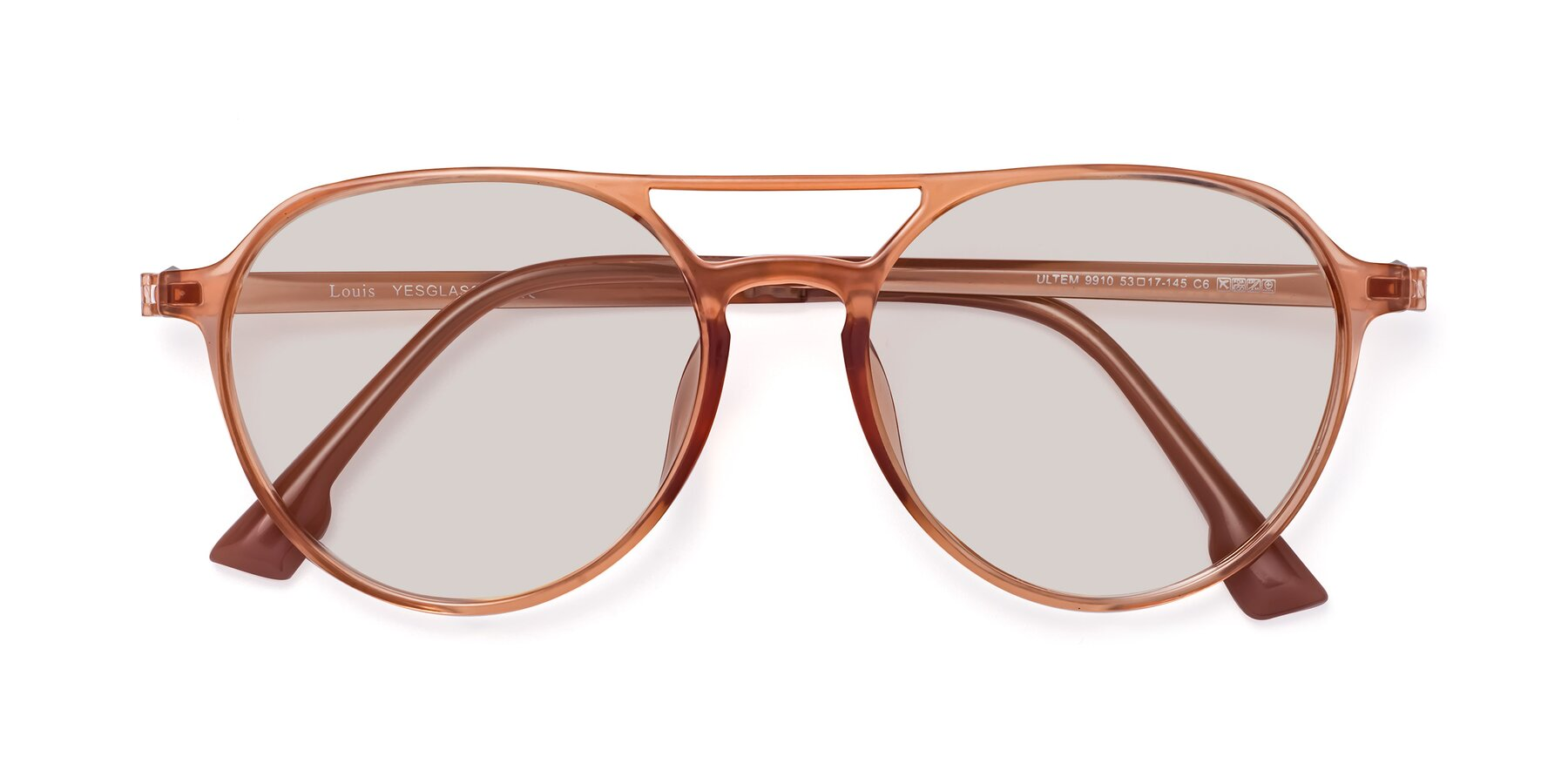 Folded Front of Louis in Coral with Light Brown Tinted Lenses