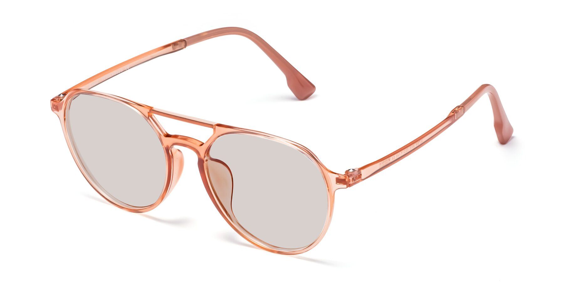 Angle of Louis in Coral with Light Brown Tinted Lenses