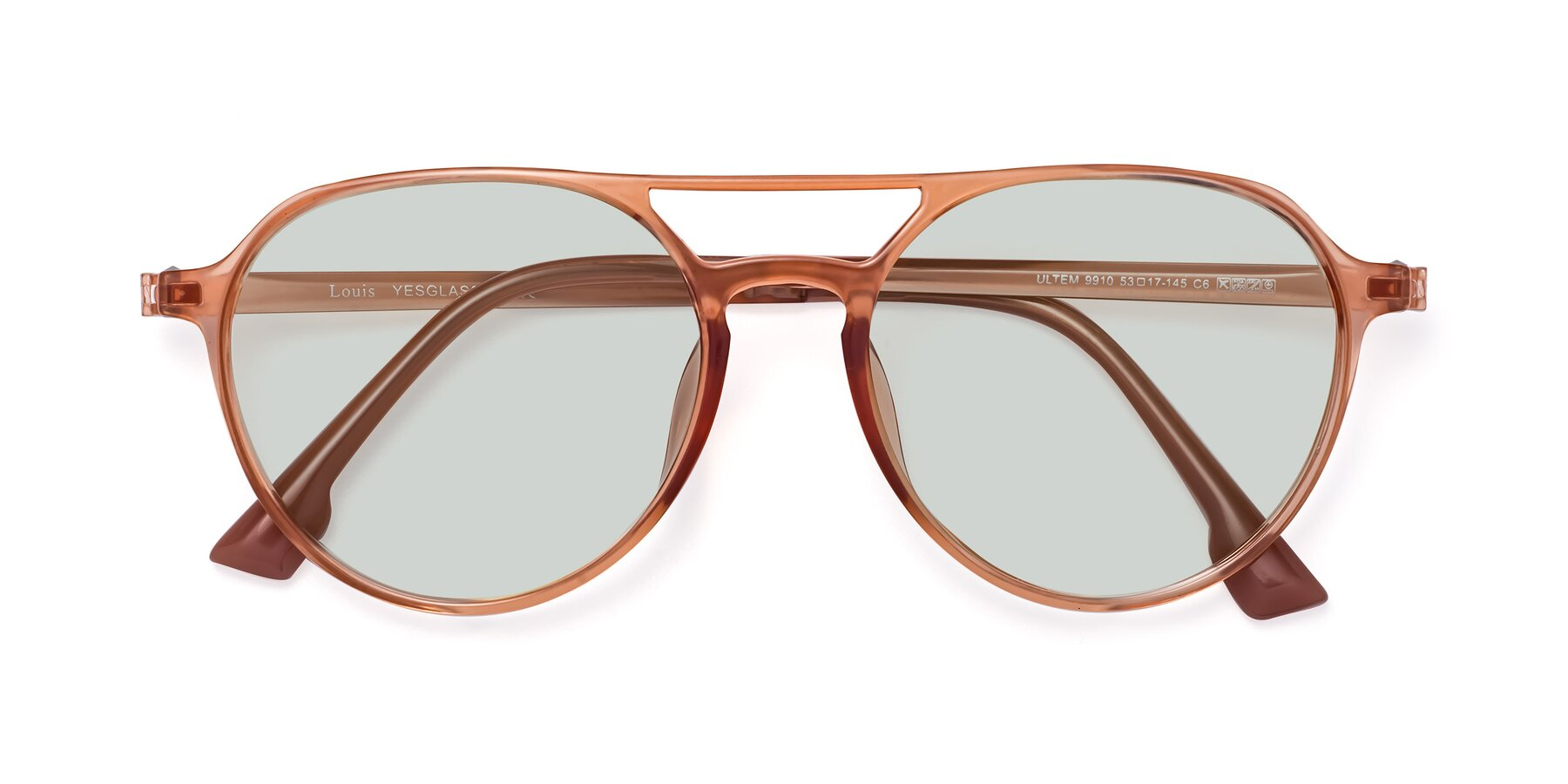 Folded Front of Louis in Coral with Light Green Tinted Lenses