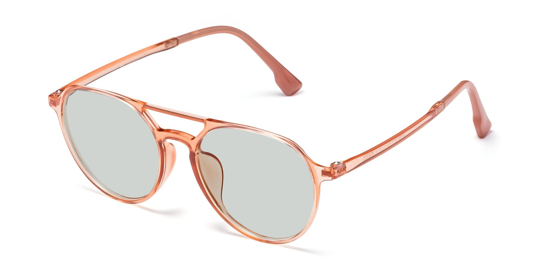 Angle of Louis in Coral with Light Green Tinted Lenses