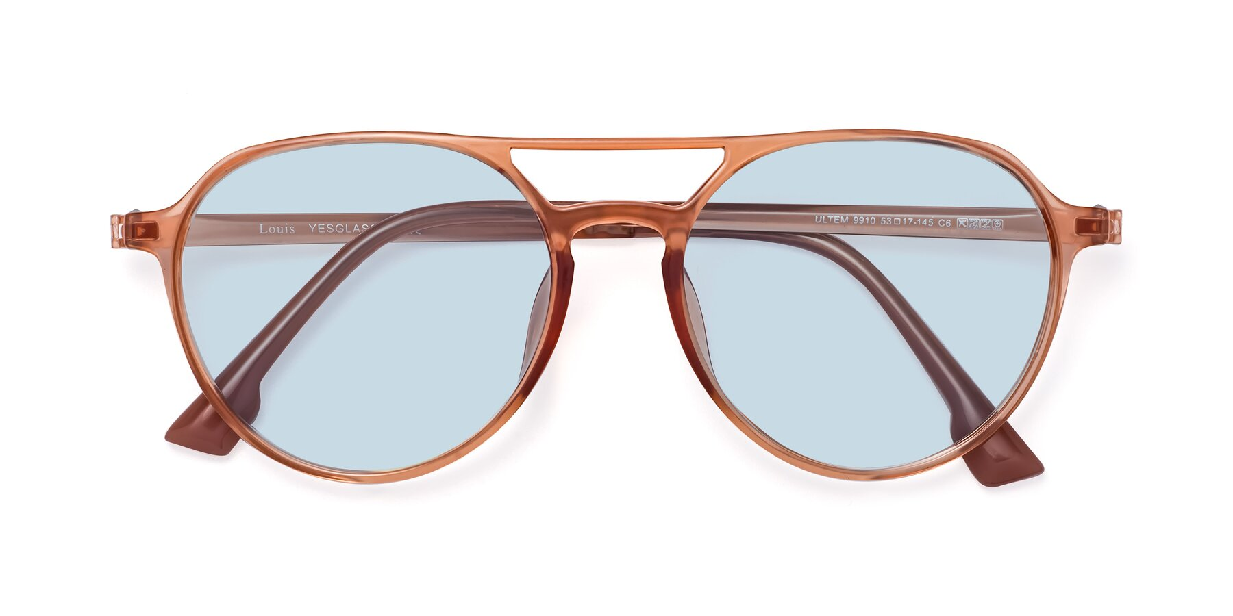Folded Front of Louis in Coral with Light Blue Tinted Lenses