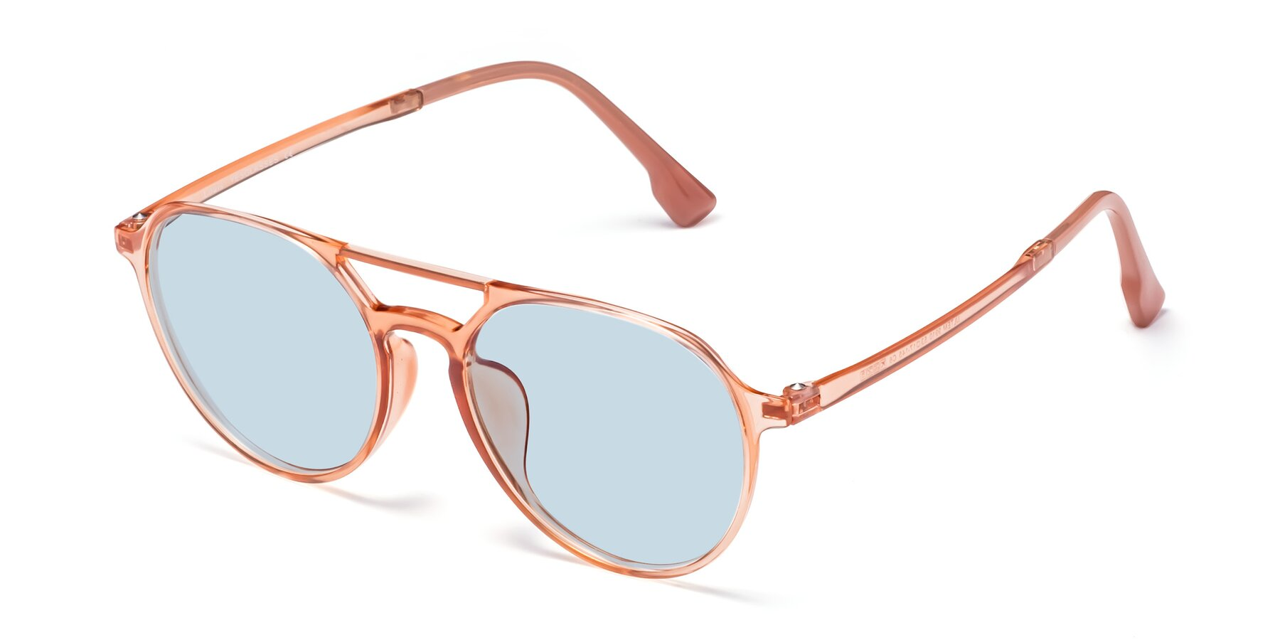 Angle of Louis in Coral with Light Blue Tinted Lenses