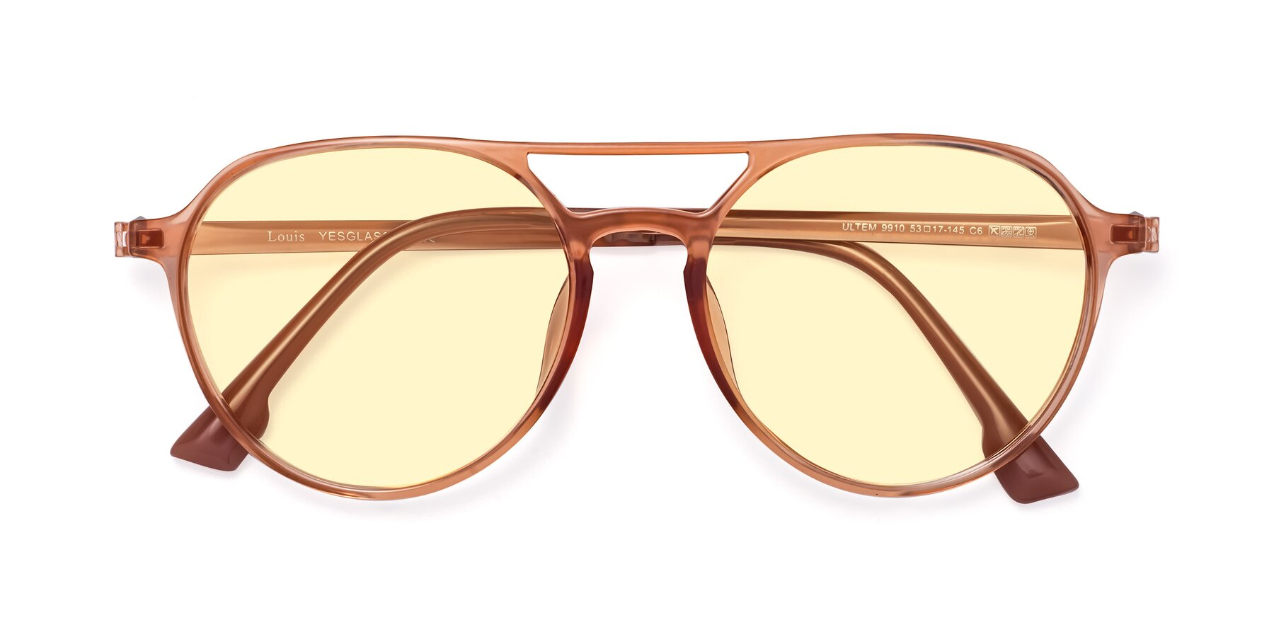 Folded Front of Louis in Coral with Light Yellow Tinted Lenses