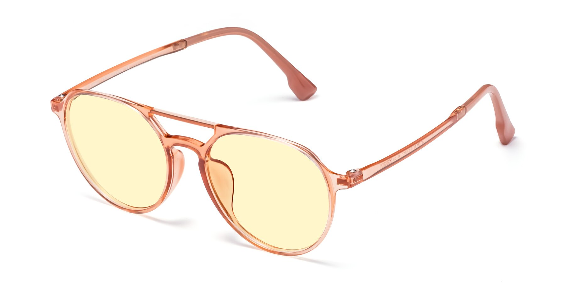 Angle of Louis in Coral with Light Yellow Tinted Lenses