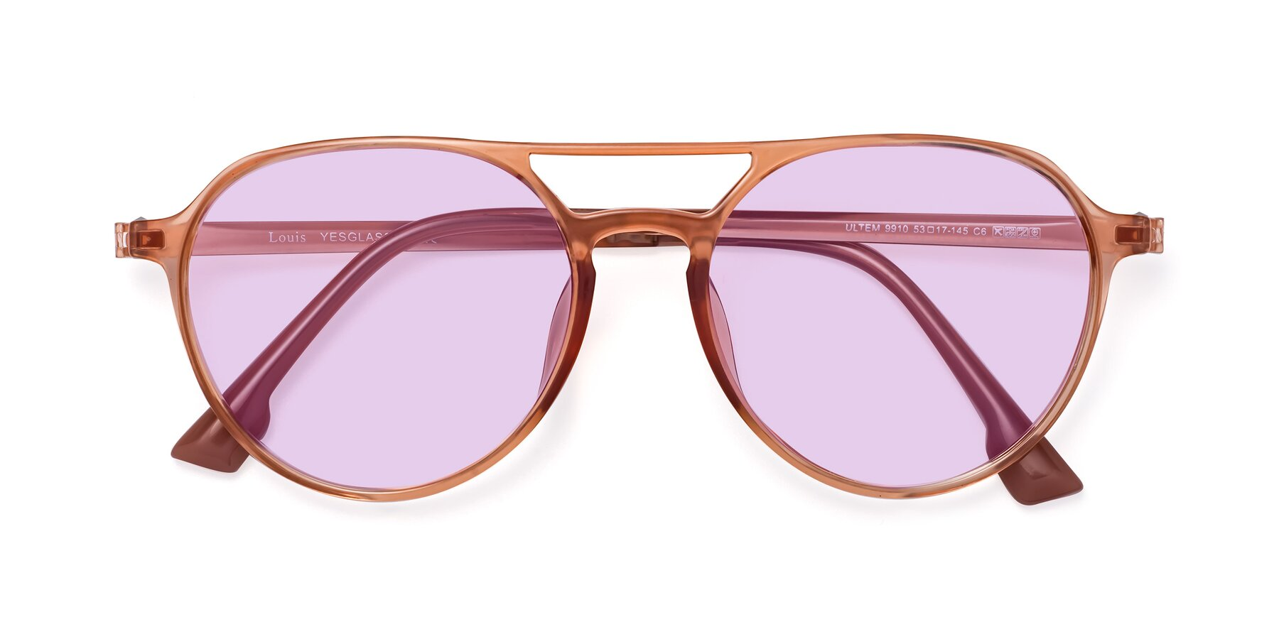 Folded Front of Louis in Coral with Light Purple Tinted Lenses