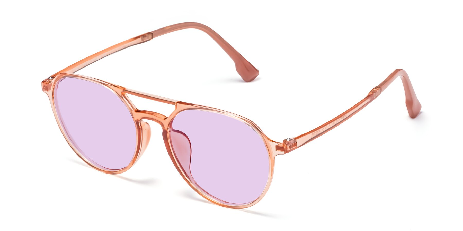 Angle of Louis in Coral with Light Purple Tinted Lenses