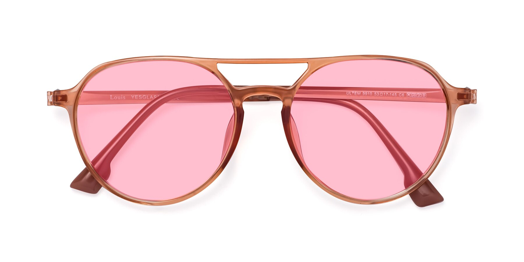 Folded Front of Louis in Coral with Medium Pink Tinted Lenses