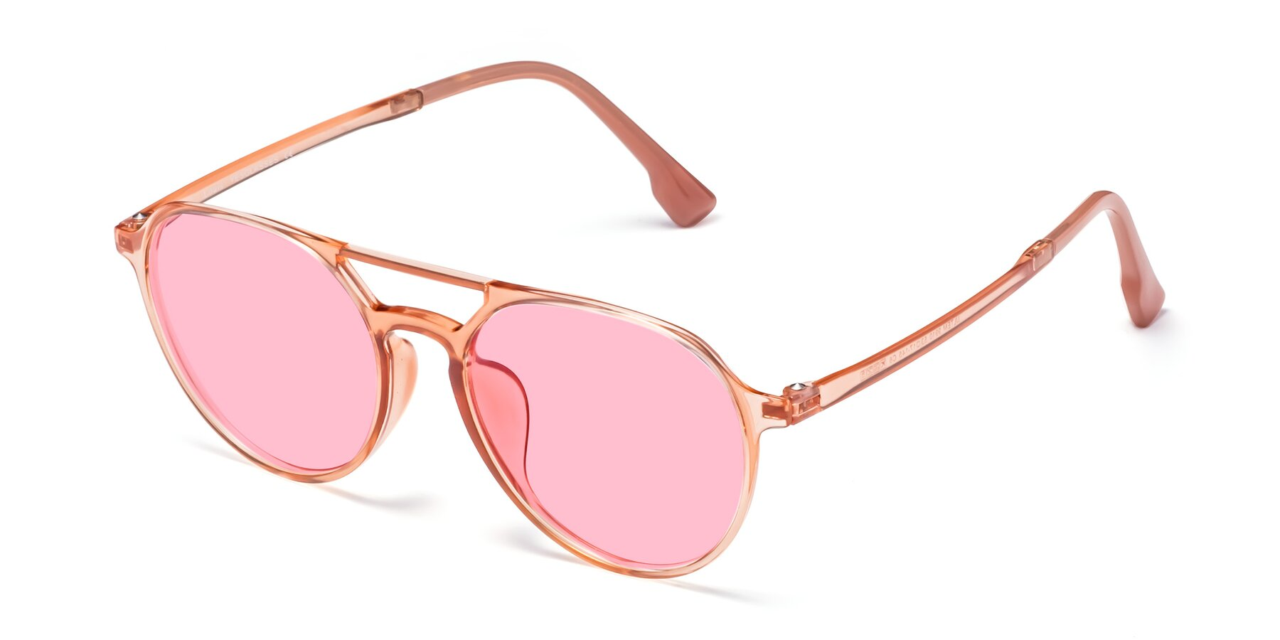 Angle of Louis in Coral with Medium Pink Tinted Lenses
