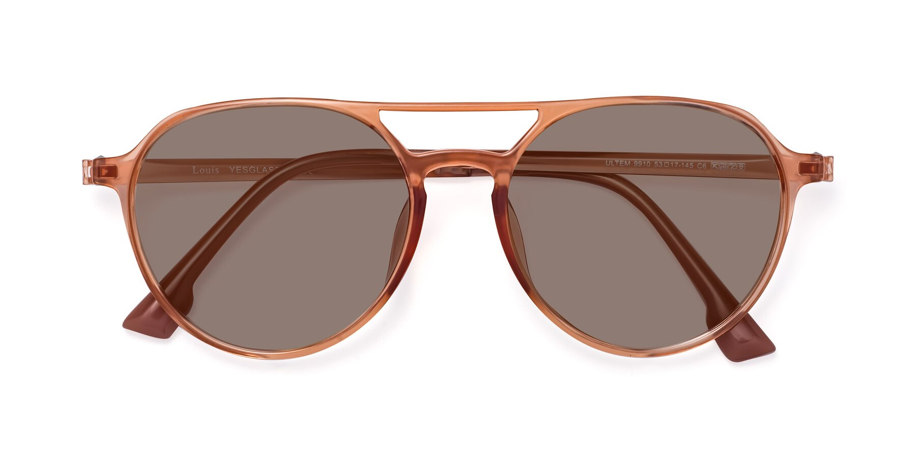 Folded Front of Louis in Coral with Medium Brown Tinted Lenses