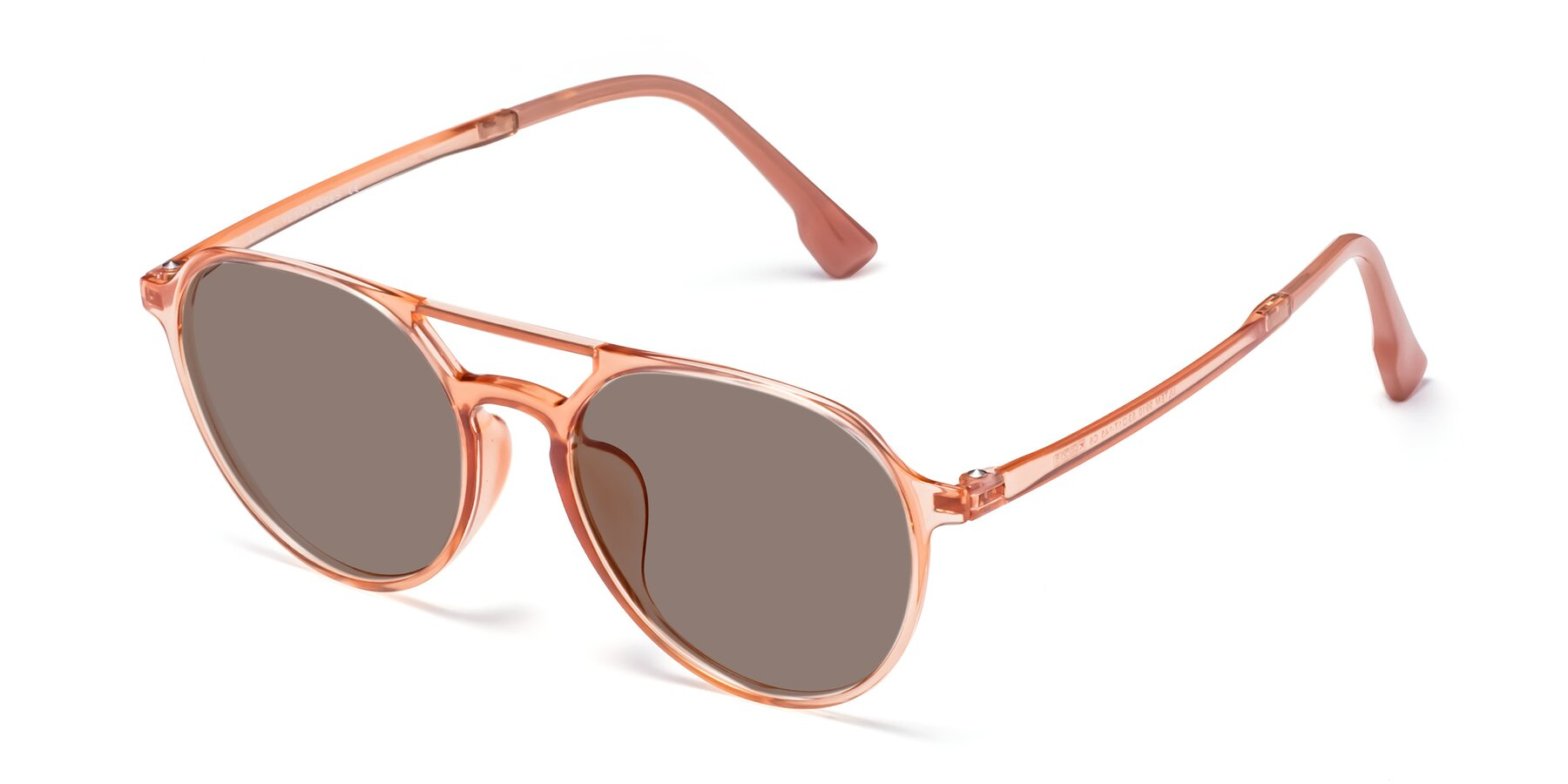 Angle of Louis in Coral with Medium Brown Tinted Lenses